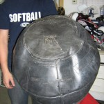 After: Repaired football dummy