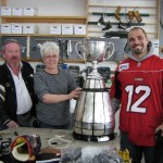 George Hopkins dropped by to visit Elaine with the cup!
